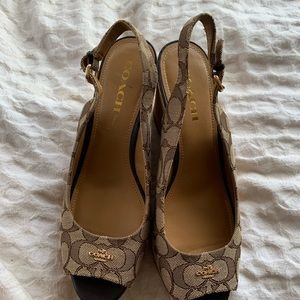 Coach wedges lightly used authentic